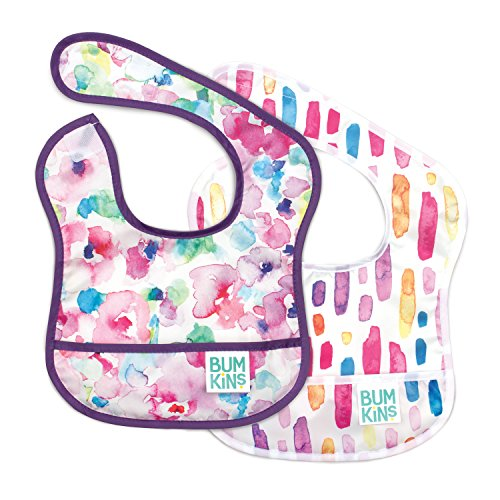 Bumkins Starter Bib, Baby Bib Infant, Waterproof, Washable, Stain and Odor Resistant, 3-9 Months, 2-Pack - Watercolors & Brushstrokes