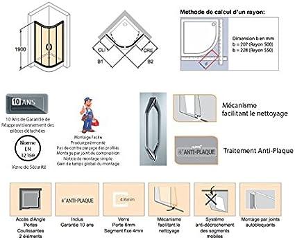 Mampara de ducha Aqua 2 en 1/4 de Círculo de puertas correderas: vidrio transparente 4 – 6 mm, perfil plata: Amazon.es: Bricolaje y herramientas