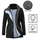 FISOUL Raincoats Waterproof Lightweight Rain Jacket Active Outdoor Hooded Women's Trench Coats, Small, Black