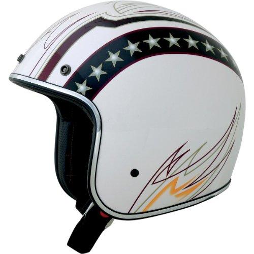 AFX FX-76 Lines Open Face Helmet White (Afx Fx 20 Helmets)