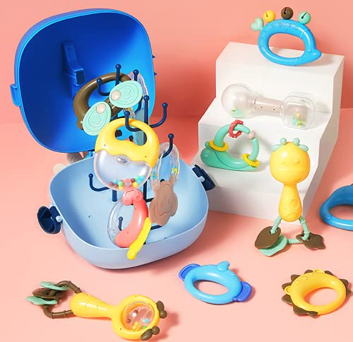 Jtboo Baby Rattle Sets Teether Rattles Toys, 13pcs Babies Grab Shaker and Spin Rattle Toy Early Educational Toys with Whale Storage Box Gifts Set for 0-12 Month Newborn Infant Baby, Boy, Girl