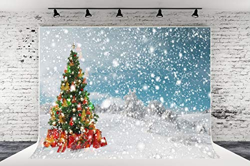 7ft x 5ft Christmas Trees Snow Microfiber Photography Background for Photo Booth Studio Wedding Party Shot Backdrop Props