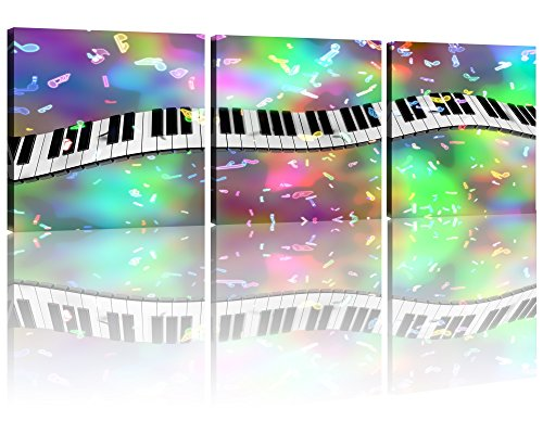 NAN Wind 3 Piece Modern Musical Staff Melody Piano Music Instrument Abstract Contemporary Canvas Prints Wall Art Paintings Giclee Artwork for Room Decoration,Stretched and Framed