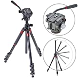 3Pod Orbit Aluminum Tripod for DSLR Photo & Video Cameras, 4 Section Extension Legs, with Q3 Fluid Video Head, Bubble Level, with Bag. 69''