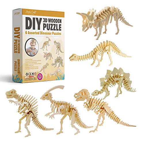 Hands Craft DIY 3D Wooden Puzzle Bundle Set, Pack of 6 Dinosaur Brain Teaser Puzzles | Educational STEM Toy | Safe and Non-Toxic Easy Punch Out Premium Wood | (JP2B1)
