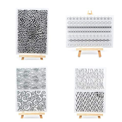 Pattern Background - Welcome to Joyful Home 4pcs/Set Abstract Background Rubber Clear Stamp for Card Making Decoration and Scrapbooking