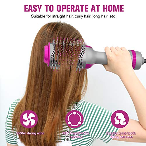 Hair Dryer Brush, Hot Air Brush One Step Hair Dryer & Volumizer 3 in 1 Brush Blow Dryer Styler for Rotating Straightening, Curling, Salon Negative Ion Ceramic Blow Dryer Brush…