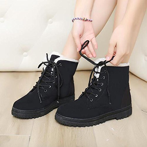 Noir Plates Chaussures Fourrure De Hattie Laçage Chaudes Cheville 1 Hiver Femme chaussettes Neige Bottes Fq6Of