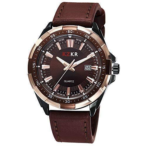 322a73b76637 Reloj Hombre KZKR Reloj de hombre reloj de pulsera piel reloj hombre piel  marron reloj hombre cuarzo elegante Reloj hombre cuero marrón K386   Amazon.es  ...