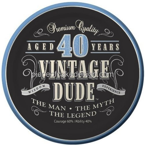 """Price comparison product image 8"""" Round ~ 40th Birthday Vintage Dude Aged 40 Years Birthday ~ Edible Image Cake / Cupcake Topper!!!"""
