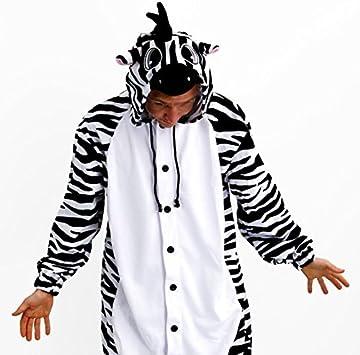 Cebra - Todo en un disfraz para adultos - Onesie Kigurumi (M ...