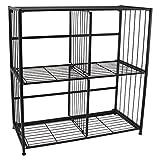Flipshelf, FLIPCUBE-Folding Metal Cube Organizer -Small Space Solution-No Assembly-Home, Closet, Bathroom And Office Shelving-Black, 4 Cube Organizer