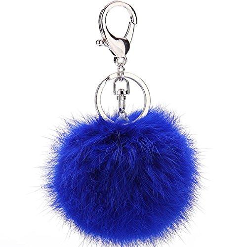 Rabbit Fur Ball Pom Pom Keychain Puff Ball Keyring Cityelf Fluffy Accessories Car Bag Charm (ROYALBLUE)