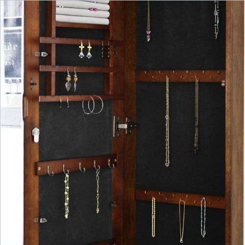 Wall Mount Jewelry Mirror - Abundant Storage & Hooks - Keyed Locking Mechanism