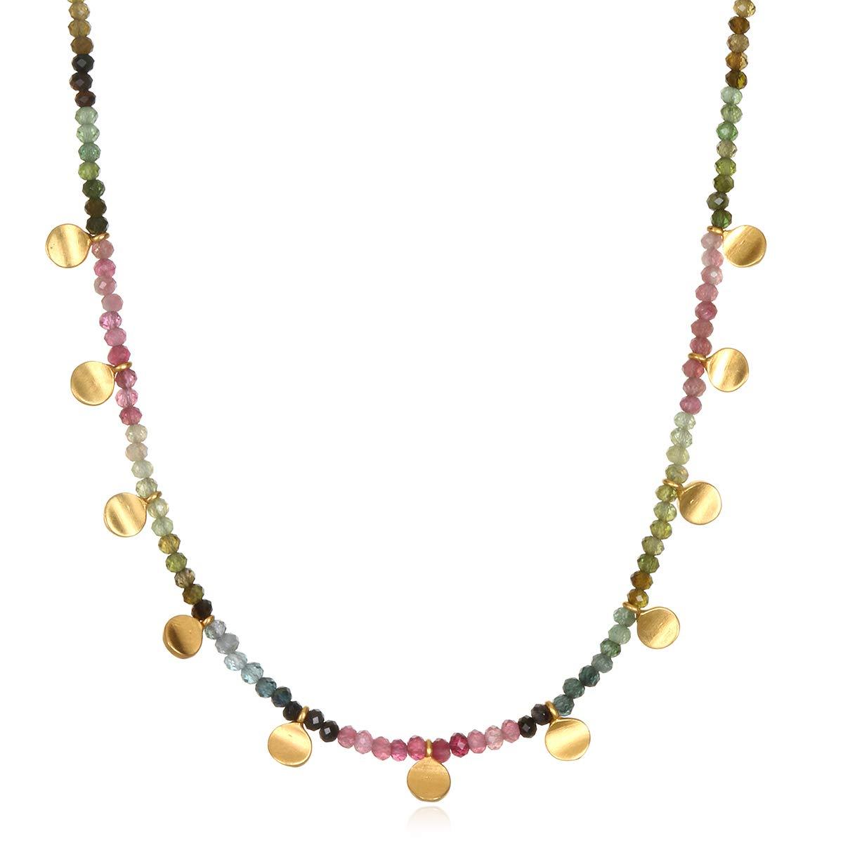 Satya Jewelry Women's Tourmaline Gold Moon Choker Necklace 14-Inch +2'' Extension, Multi, One Size