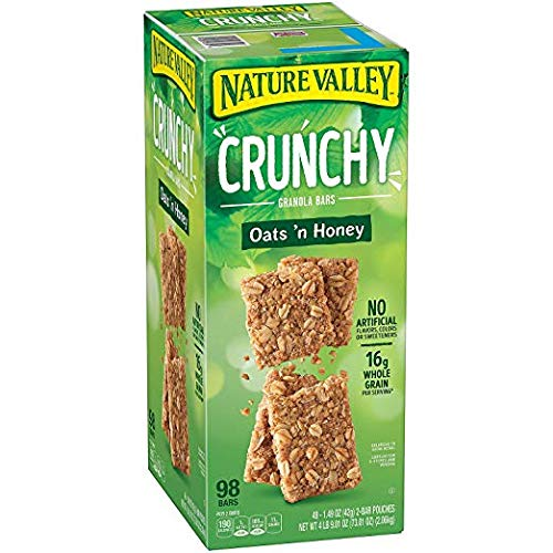 Nature Valley Crunchy Granola Bars Oats 'N Honey - 98 Bars Of 2 bar Pouches of 49ct-1.49oz by Nature Valley