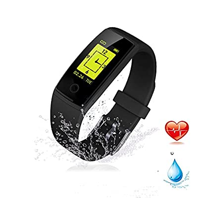 Fitness Tracker, k-berho Fitness Bracelet Watch With Heart Rate Monitor, Waterproof Activity Tracker Pedometer, Wireless Bluetooth Smart Bracelet With Replacement Strap for Android & IOS