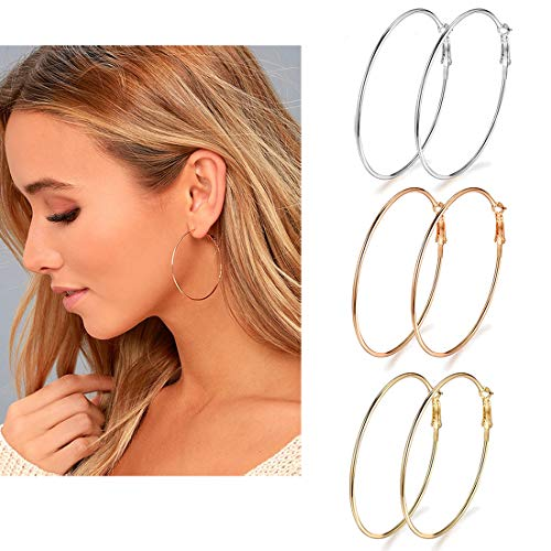 Holfeun 3 Pairs Big Hoop Earrings, Stainless Steel Hoop Earrings in Gold Plated Rose Gold Plated Silver for Women Girls (45mm)
