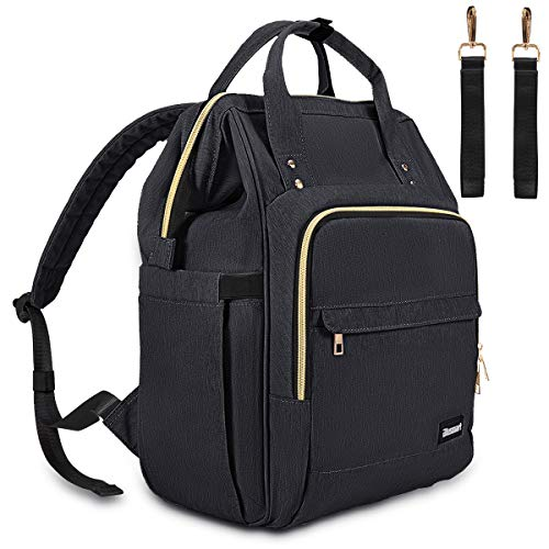 Diaper Bag, Multi-Functional Blusmart Baby Changing Bag, Stylish & Durable Waterproof Nappy Backpack with Wide Opening, Large Capacity, and Stroller Straps for Mom & Dad, Picnic, and Travel-Black