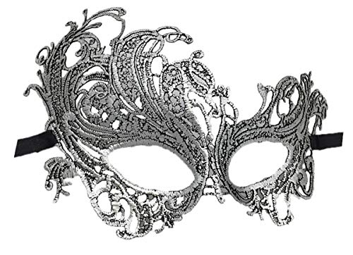 Lace Masquerade Ball Mask Venetian Swan Mardi Gras Halloween Costume Party Mask (A Silver Black Swan)