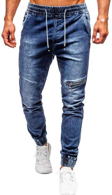 relè bruciato Sfavorevole  Uomo Vintage Pantaloni Jeans Slim Fit Moda Streetwear Jeans Pantaloni  Fascia Elastica Pantaloni Jeans con Polsini: Amazon.it: Abbigliamento