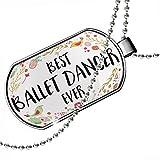 Dogtag Happy Floral Border Ballet Dancer Dog tags necklace - Neonblond