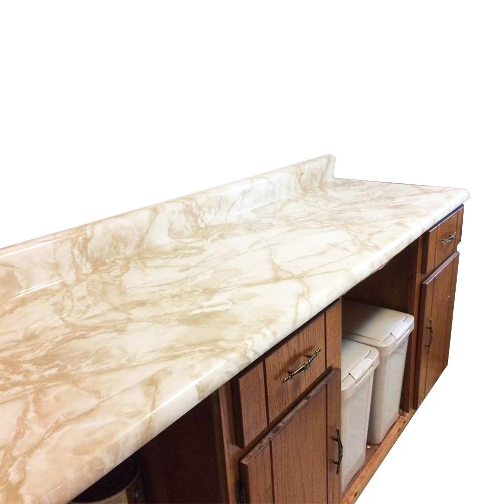 36'' W x 240'' L Peel and Stick White Riviera Creme Brulee Marble Self Adhesive Counter Top Vinyl Film Update