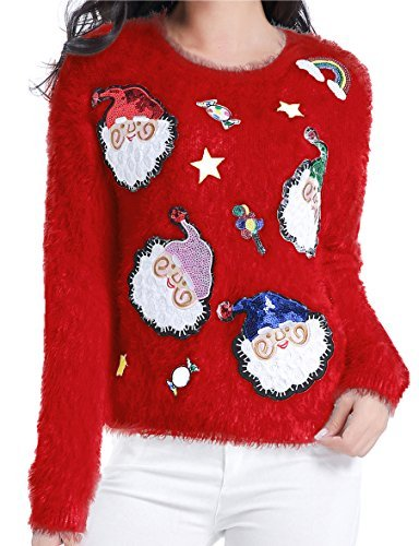 v28 Ugly Christmas Sweater, Women Ladies Girl Xmas Shining Santa Penguin Jumper (Small, ShiningSanta Red)