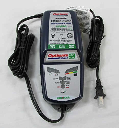 Optimate TM-291 5 Amp HIGH POWER LiFePO4 LFP Fully Automatic 12 Volt Lithium Battery Charger Maintainer Tender - CAPABLE OF RECOVERING LITHIUM BATTERIES