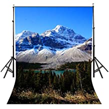LYLYCTY Ice Snow Mountain Background for photography 5×7ft Polyester Blue Sky Scenery Backdrop Studio Photo Props (Upgrade material)LY009