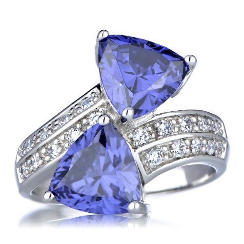 - Trillion Cut Simulated Tanzanite Anniversary Ring