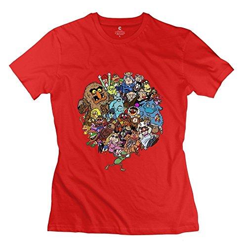 (Women's Muppet Alphabet O-neck 100% Cotton T-shirt Size XXL Red)