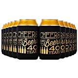 Crisky 40th Birthday Beer Sleeve, 40th Birthday Can Coozies, Can Covers with Insulated Covers, 12-Ounce Neoprene Coolers for Soda, Beer, Can Beverage, 12 Black Gold, 2.4 x 2.4 x 4 Inches