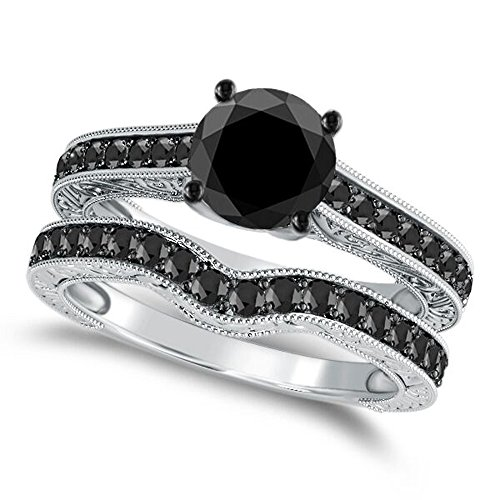 1.50 Ct. Black Diamond Bridal Ring Set for Women Crafted in 10K Solid Yellow Gold - 4Prong Diamond Ring - Wedding Ring and Band - Jewelry Collection ()