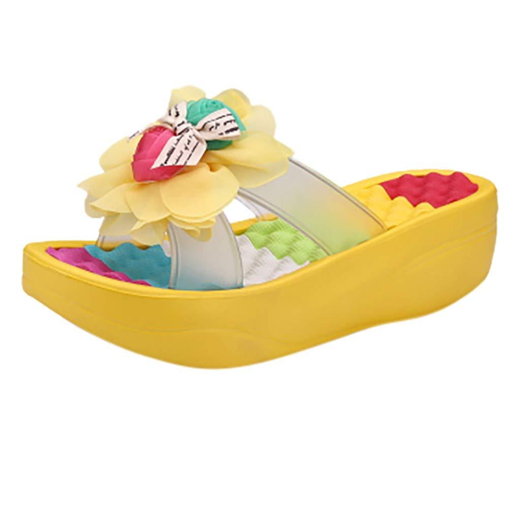 Sale!Women Summer Sandals,Girls Anti-Slip Swing Wedge Flip Flops Slide Slippers Ladies Beach Hole Shoes with Flowers
