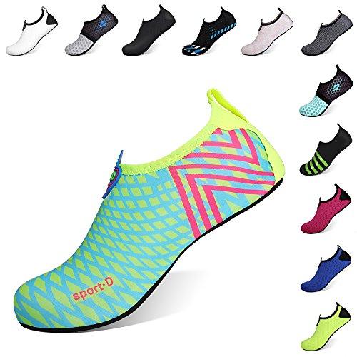 Heeta Barefoot Water Sports Shoes for Women Men Quick Dry Aqua Socks for Beach Pool Swim Yoga Light Blue XL from Heeta