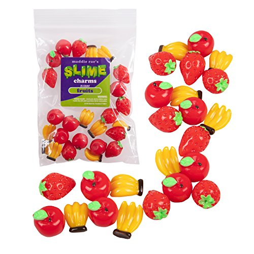 Maddie Rae's Slime Charms, Mixed Fruit 25 pcs of Slime Beads, Strawberry, Apple, Bananas -