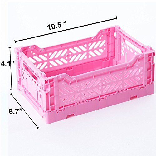 AY-KASA Collapsible Storage Bin Container Basket Tote , Folding Basket CRATE Container : Storage , Kitchen , Houseware Utility Basket Tote Crate - Mini-BOX ( BABY PINK )