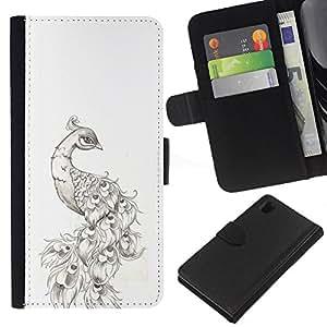 iBinBang / Flip Funda de Cuero Case Cover - Drawing Tattoo Ink Black White - Sony Xperia Z1 L39H