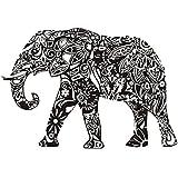 SODIAL(R) DIY PVC Wall Sticker Black - Mandala Pattern Design Indian Elephant (83cm x 57cm) - Inspired Wall Art Decal Animal Mural for Living Room Home Decor