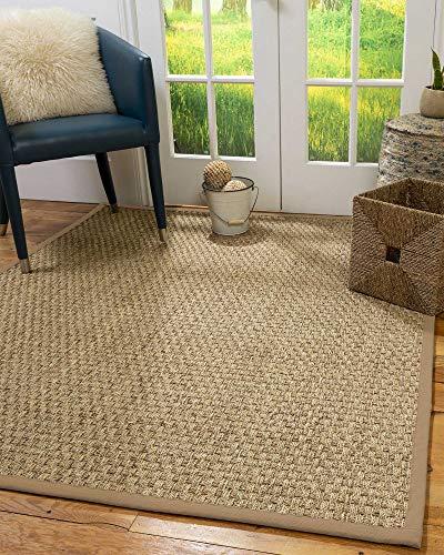 NaturalAreaRugs 100%, Natural Fiber Handmade Basketweave, Natural Seagrass Rug 4' x 6' Wheat -