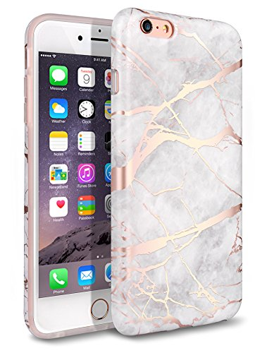 iphone 6 Plus Case, iPhone 6S Plus Case, Shiny Rose Gold White Marble Design,WORLDMOM Clear Marble Pattern Slim TPU Soft Rubber Hybrid Shockproof Protective Case for iPhone 6 Plus / 6S Plus (Pattern Protective Case)