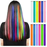 #8: Party Highlights Clip Halloween Multi-Colors 12 Pieces Hair Extensions for Kids Girls Colorful Hair Extensions 22 inches Straight Synthetic Hairpieces - Multi-Colors