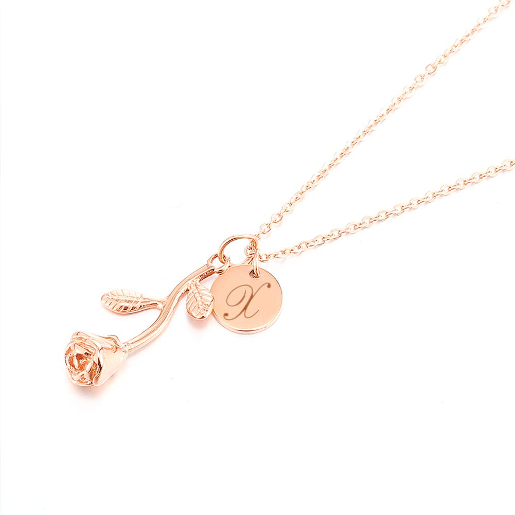 Personalized Custom Rose Flower Letter Initial Necklace for Women Any Name Bar Pendant Necklaces Jewelry Chain