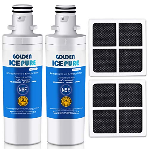 GOLDEN ICEPURE Refrigerator Water Filter, Compatible with LG LT1000P, MDJ64844601,LT1000PC, ADQ74793501, ADQ74793502, Kenmore 46-9980, 9980 Water Filter and Air Filter LT120F Combo (2-Pack) (Pur Water Filter For Kenmore Elite Refrigerator)