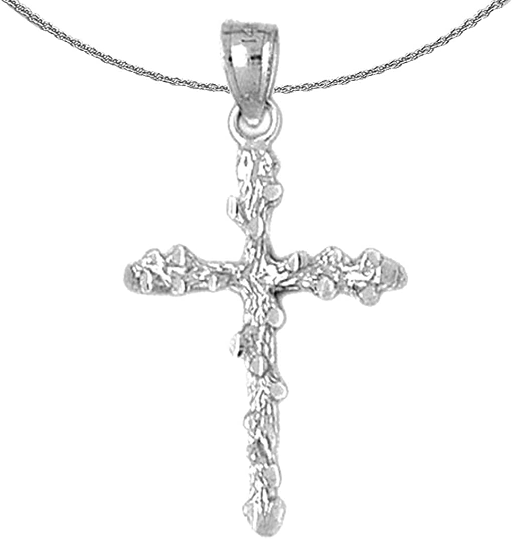 Rhodium-plated 925 Silver Nugget Cross Pendant with 18 Necklace Jewels Obsession Silver Cross Necklace