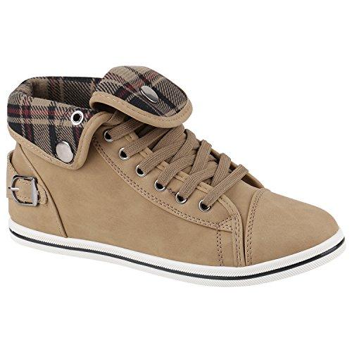 Stiefelparadies Damen Sneaker High Top mit Schnalle in Mehreren Farben 36-45 Flandell Khaki Karo