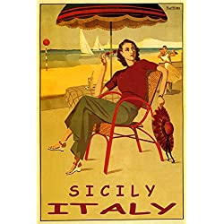 "SICILY ITALY FASHION LADY GIRL BEACH DANCE SAILBOAT VACATION TRAVEL 12"" X 16"" VINTAGE POSTER REPRO MATTE PAPER WE HAVE OTHER SIZES"