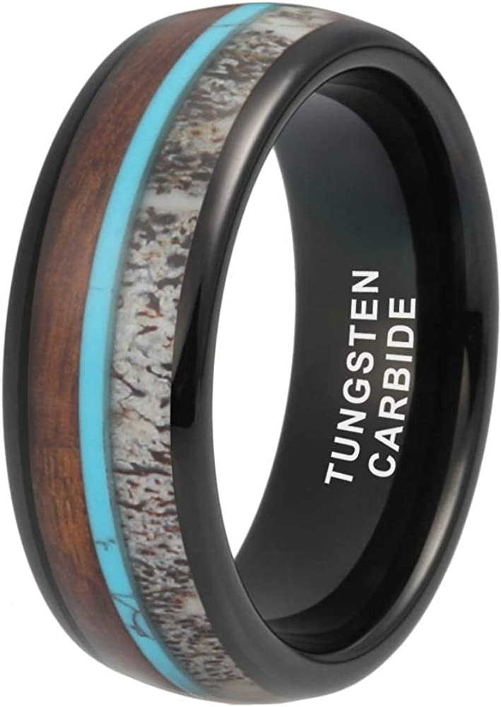 iTungsten 8mm Silver//Black//Rose Gold Tungsten Rings for Men Women Wedding Bands Deer Antler Koa Wood Turquoise Meteorite Inlay Domed Polished Shiny Comfort Fit
