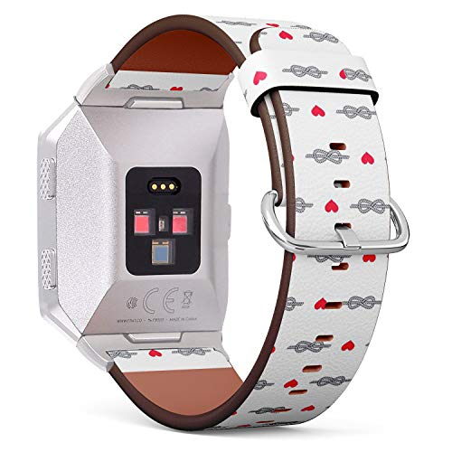 Compatible with Fitbit Ionic - Leather Band Bracelet Strap Wristband Replacement with Adapters - Figure Eight Knot Heart Hearts